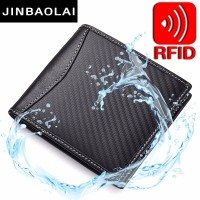RFID Blocking Genuine Leather Wallet Carbon Fiber 3D Special Waterproof Wallet Slim Wallet Front Pocket Minimalist Bifold Wallet