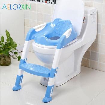 цена на 11.11 Baby Potty Training Folding Travel Baby Potty Toilet Children's Potty Toilet Seat With Adjustable Ladder For Newborns