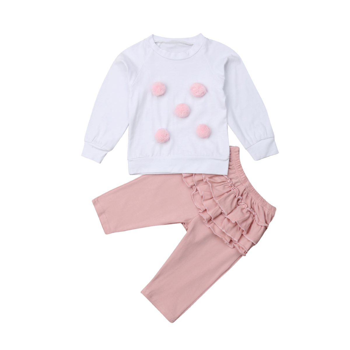 Newborn Baby Girls Winter Warm Outfits Clothes Set Fur Ball Tops Ruffle Pants 2Pcs Set Cotton Casual Clothing Outfits 0-24M