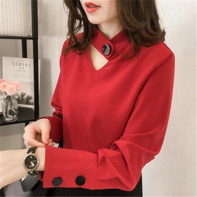 5122f87320f048 Korean Ulzzang Womens Solid Halter Chiffon Tops And Blouses Ladies Casual  Hollow Out Long Sleeve Chiffon Shirts Blusas Mujer