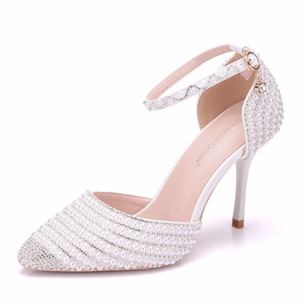 Модная обувь; коллекция 2019 года; женские туфли лодочки на высоком каблуке с жемчужинами; белые свадебные вечерние туфли на каблуке; женские туфли с ремешком на лодыжке и кристаллами