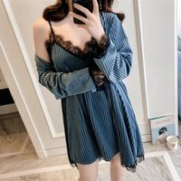 Women Sexy Sleep Tops Pajama Autumn Winter Sleepwear Gold Velvet Robe Suit Black Eyelash Lace Strap Nightdress Nightgown Pajamas
