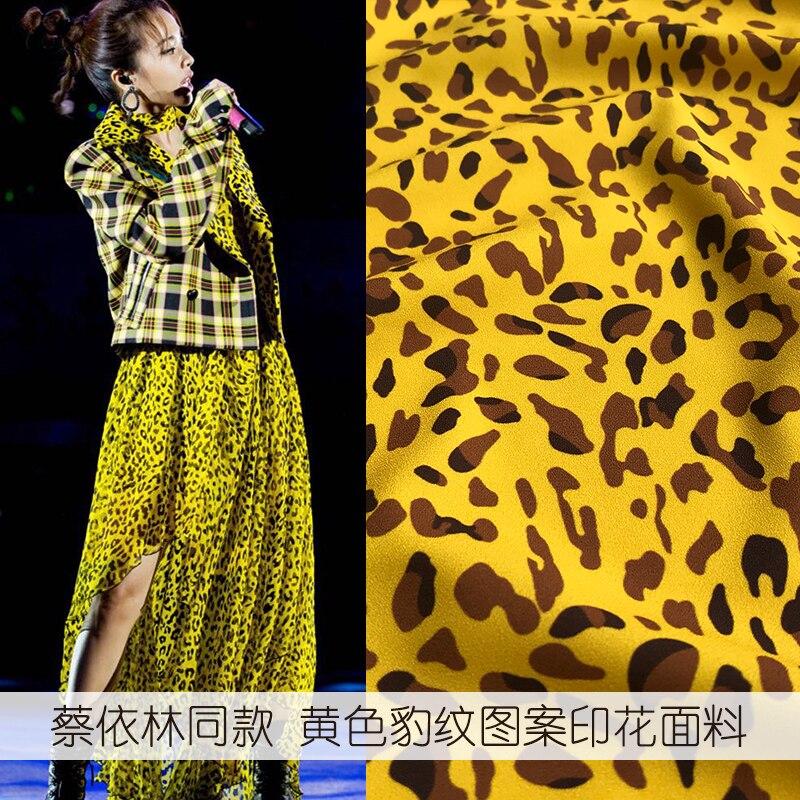 2019 new yellow leopard pattern printing clothing fabric dress shirt fashion material beautiful polyester printing wholesale