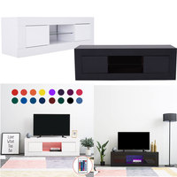Panana TV Cabinet Unit Storage With LED Light High Gloss Front Doors Shelf TV Stand Livingroom Home Entertainment Furniture