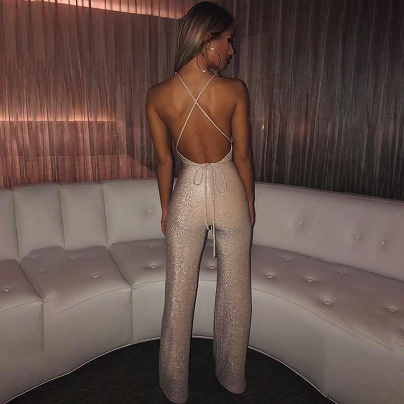 Ohvera блеск клубвечерние Вечеринка сексуальный комбинезон для женщин s комбинезон с открытыми плечами Длинные Комбинезоны для 2019 летние комбинезоны