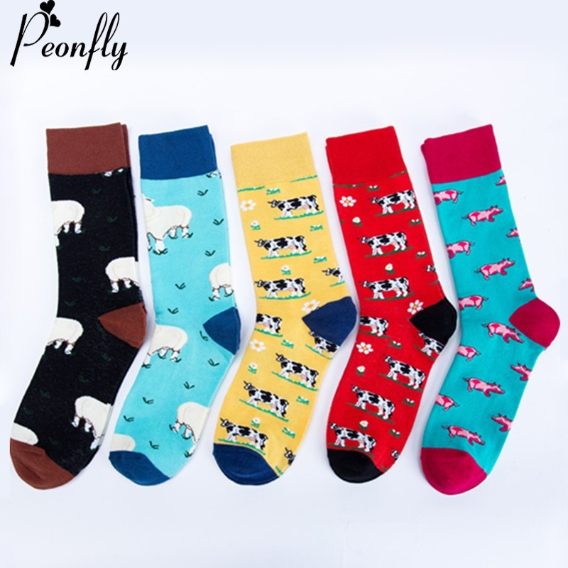 PEONFLY Colorful Print Farm Harajuku Cartoon Animals Sheep Cow Pig Pattern Happy Funny Socks Men Comfortable Cotton Short Socks