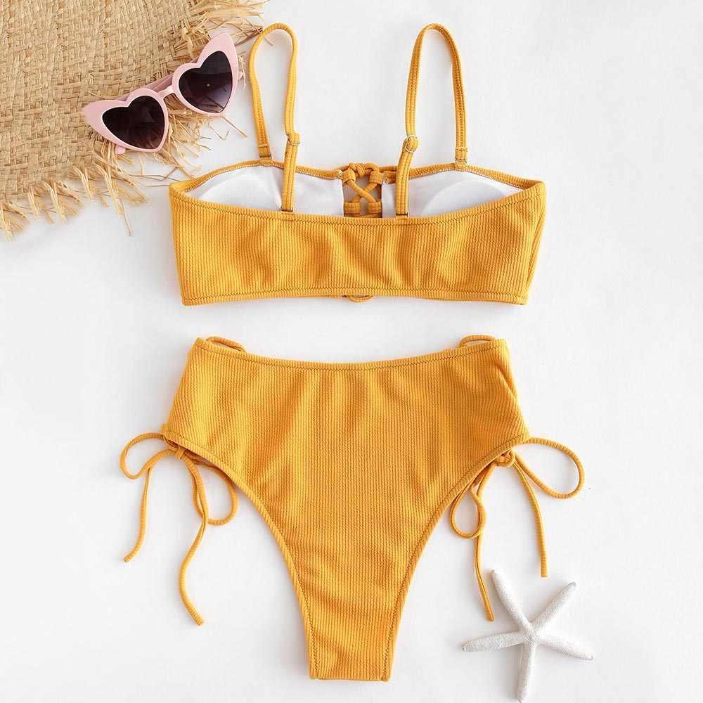 5c309aa0f93 ... ZAFUL Ribbed Lace Up Bikini Set Sexy High Leg Swimsuit Bathing Suit  Swimwear Women Beach Biquinis ...