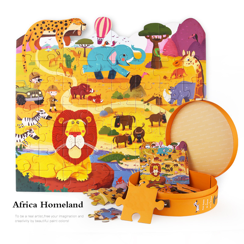 Children's Jigsaw Puzzle Animal Paper Puzzle Toys 0-3 Year Old Cartoon Children's Educational Jigsaw For Gifts