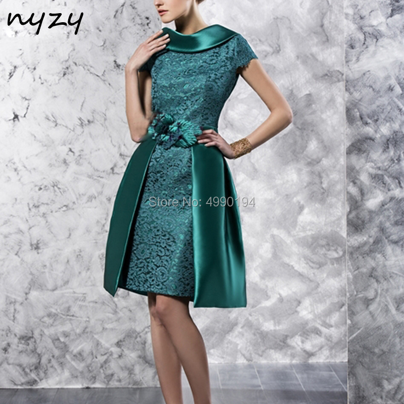 NYZY C43 Emerald Green Vintage Bowl Neck Satin Lace 2 Piece Cocktail Dresses Detachable Removable Skirt Party Gown 2019
