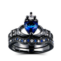 Double Women's Obsidian Ring Bague Etoile Heart shaped Crown Sapphire Bizuteria Ring Anillos De Black Color Diamond Ring for Men