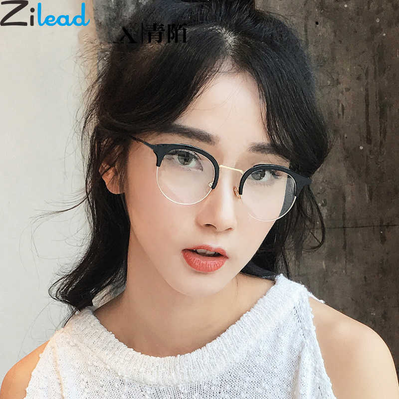 Zilead Half Frame Blocking Anti Blue Light Glasses Frame Women Metal Round Computer Optical Spectacle Eyeglasses Unisex
