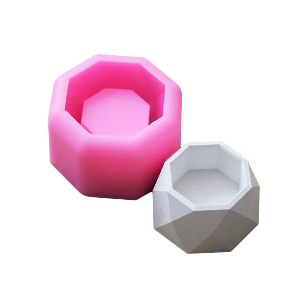 NEW DIY Geometric Polygonal Concrete Flower Pot Mold Office Decoration Clay Cementsilica Succulent Plant Vase Silicone Mold #05