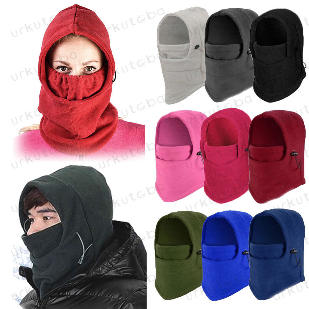 Unisex Polar Fleece Hood Hat Casual  Beanie Ski Snow Cap Snood Scarf Warmer Thermal