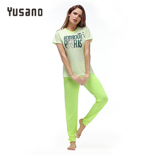 Купить с кэшбэком Yusano 2017 Pajamas Cotton Cute Heart Short Sleeve Pijama De Unicornio Bow Letter Print Red Green (T shirt +Long Pants) Pyjamas
