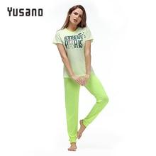 Купить с кэшбэком Yusano 2017 Pajamas Cotton Cute Heart Short Sleeve Pijama De Unicornio Bow Letter Print Red Green (T shirt +Long Pants) Pyjamas