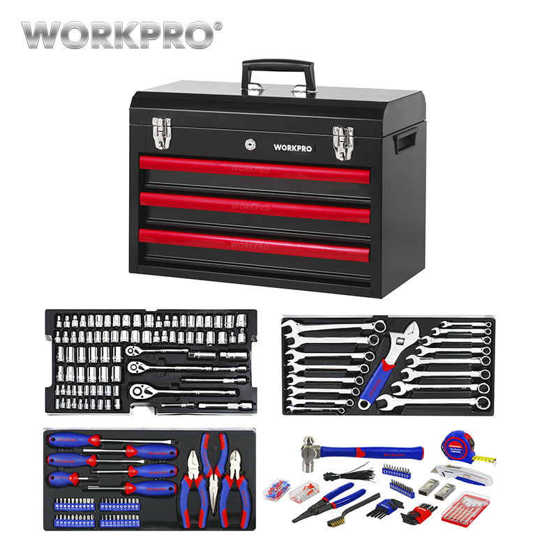 WORKPRO 408PC Home Repair Tool Set Metal Tool Box Set Hand Tools Home Tool kit