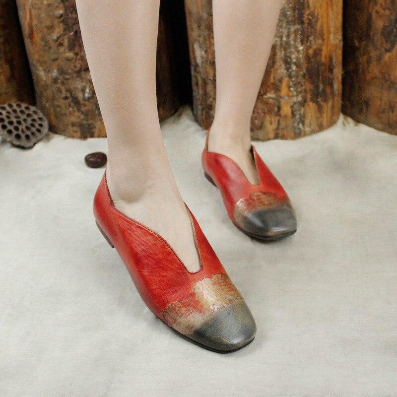 Red Femelle Femmes Décontracté Cuir Makasins W Été De Slipona En Chaussures 2019 Plates Ballet Véritable Printemps qrPIwZr