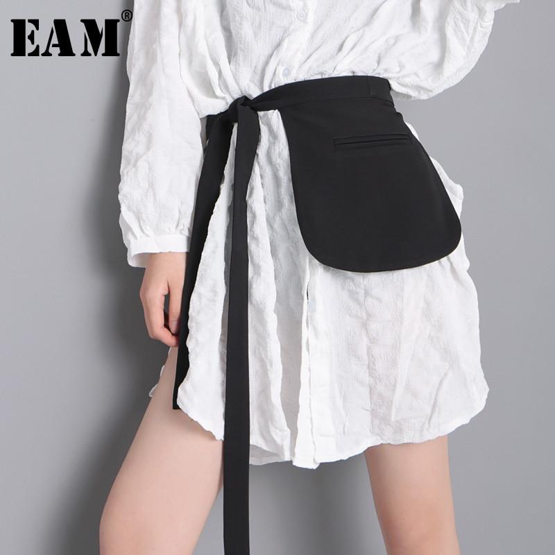 [EAM] 2020 New Spring Summer Black Bandage Big Pocket Ways Wear Personality Long Belt Women Fashion Tide All-match JT999