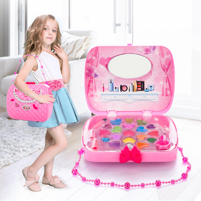 DROP SHIP Children's  Cosmetics Toys Kit Box With Handbag Girl Safe Non-Toxic Makeup Set Eyeshadow Lipstick Blush For Gift TSLM1