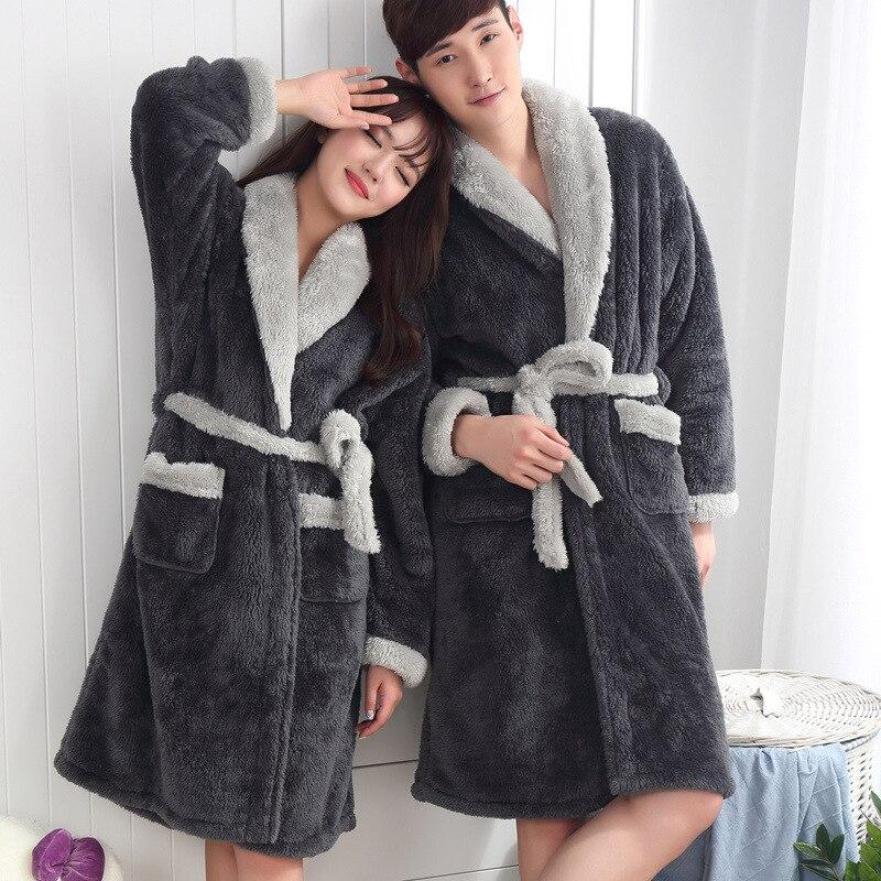 Flannel Robe Male Female Thick Couple Dressing Gown Warm Belted Empire Men'S Bathrobe Winter Long Robe Mens Women Bath Robe Xxl