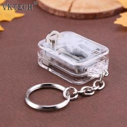 DIY Music Box Movement Keychain Handy Crank Musical Case Mechanical Music Boxes Keychain Children Birthday Gifts Toys