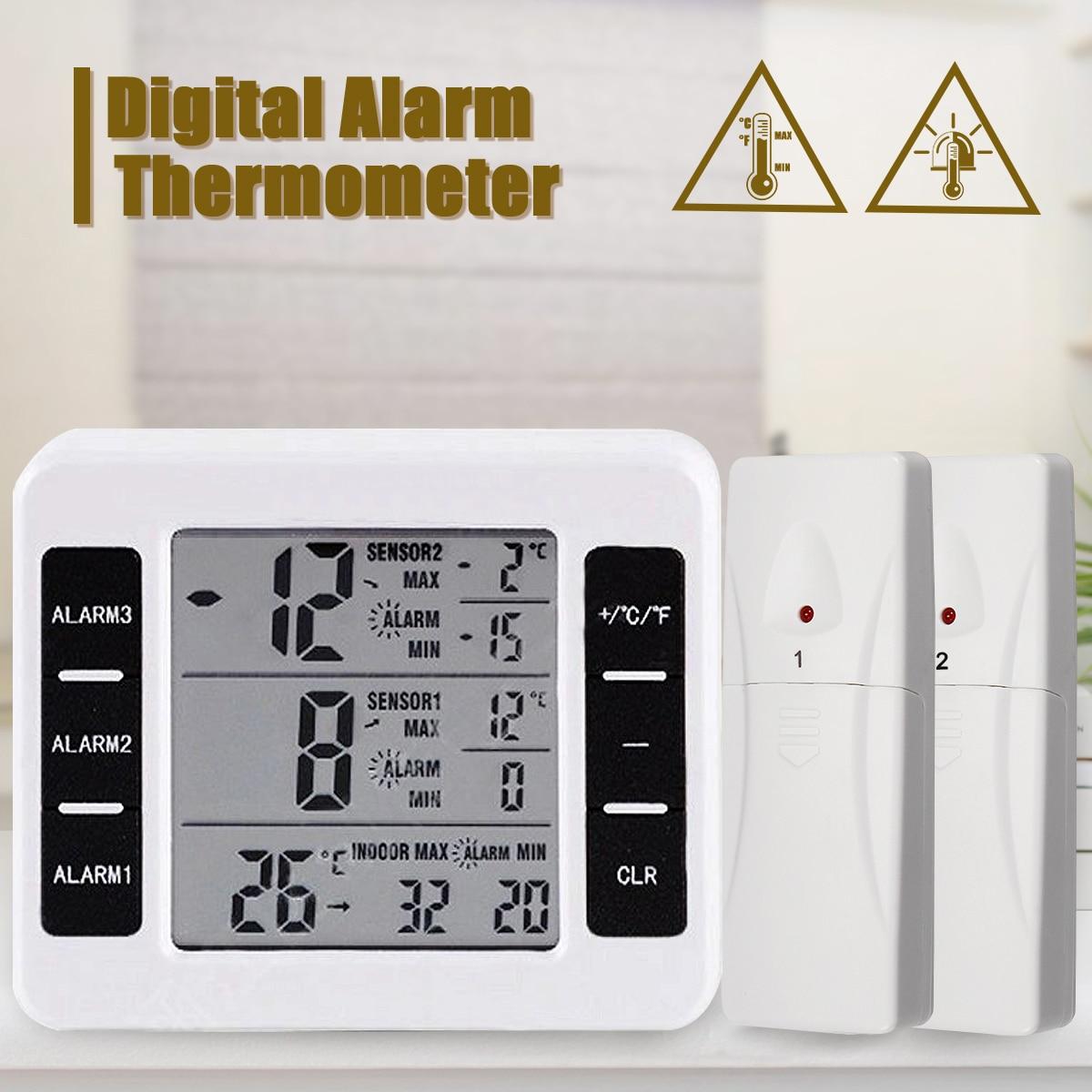 Wireless Digital Freezer Thermometer Indoor Outdoor Audible Alarm With Sensor temperature  Reminding deviceWireless Digital Freezer Thermometer Indoor Outdoor Audible Alarm With Sensor temperature  Reminding device
