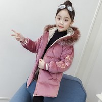 Embroidery Floral Long Sleeve Corduroy Warm Parkas Clothes Girls Long Fur Hooded Coats And Jackets For Kids Winter Padded Tops