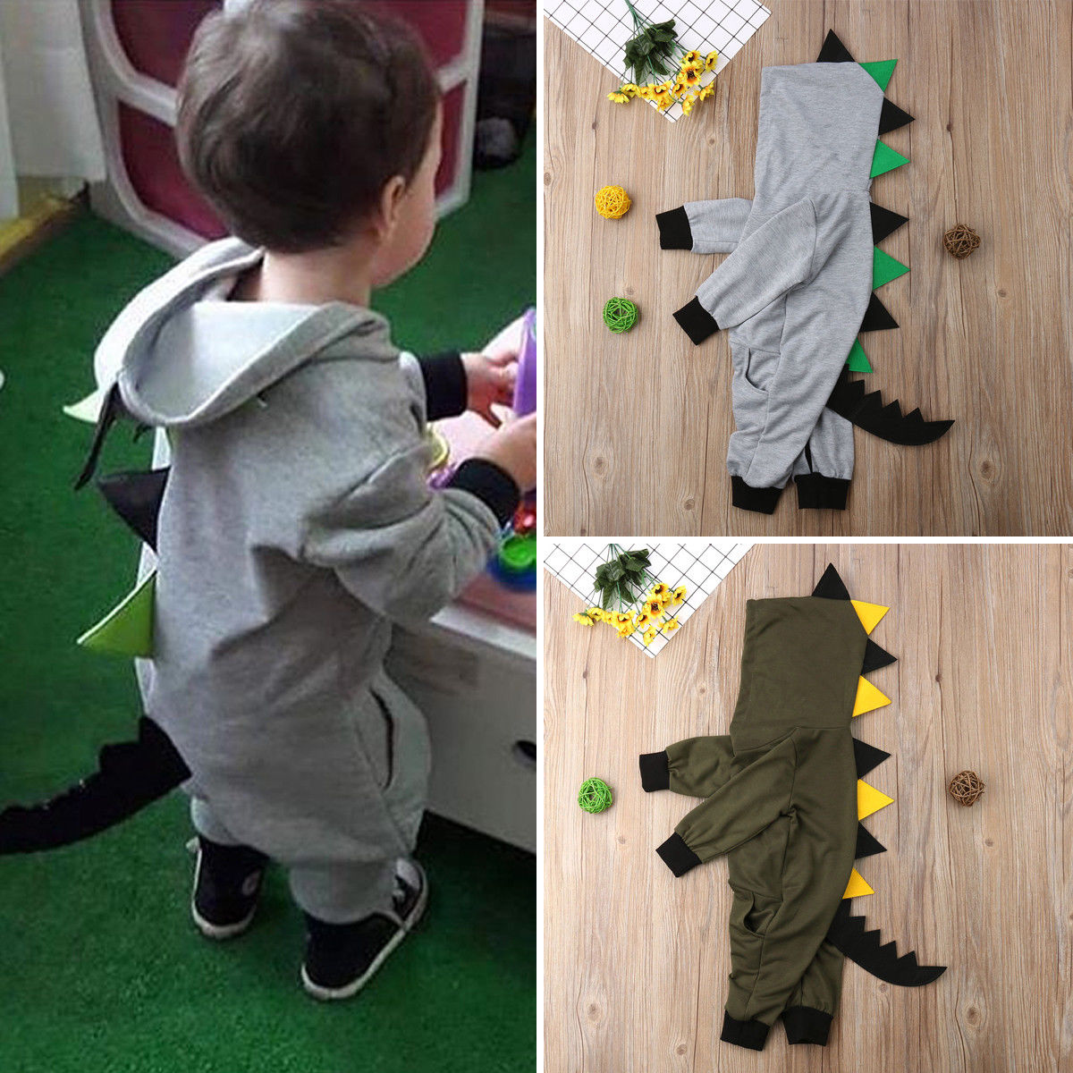 Pudcoco Boy Jumpsuits 0-24M USA Toddler Baby Boy Animal Dinosaur Costume Outfit   Romper   Clothes Set
