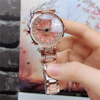 Moda feminina relógios 2019 melhor vender estrela céu dial relógio de luxo rosa ouro feminino pulseira de quartzo relógios de pulso novo|Relógios femininos| |  -