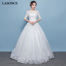 LASONCE Illusion Boat Neck Lace Appliques Ball Gown Wedding Dresses Off The Shoulder Half Sleeve Backless Bridal Dress