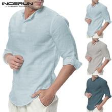 Plain Tee 5XL Men Casual Shirts Long Sleeve Henley Collar V Neck Basic Color Loo