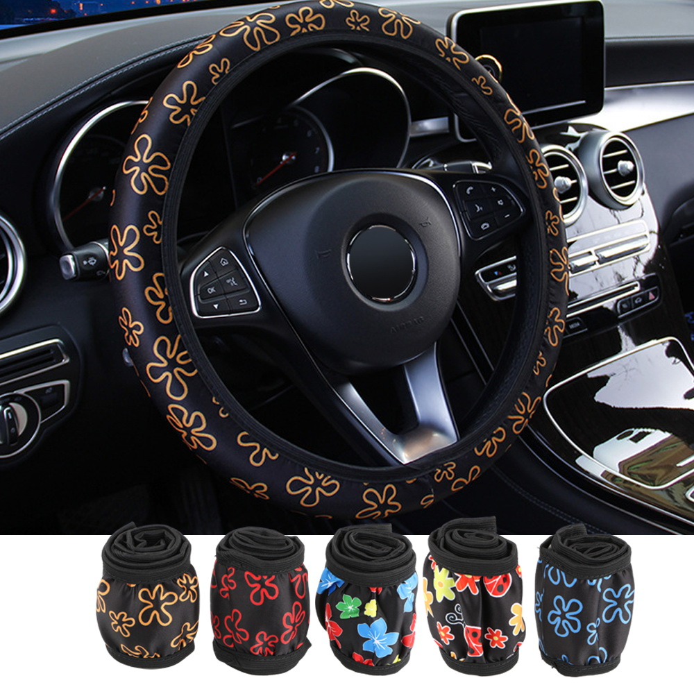 FORAUTO Car Steering Wheel Covers Flowers Print Elastic Auto Covers Fit For Most Cars Interior Accessories Anti-slip Car Styling