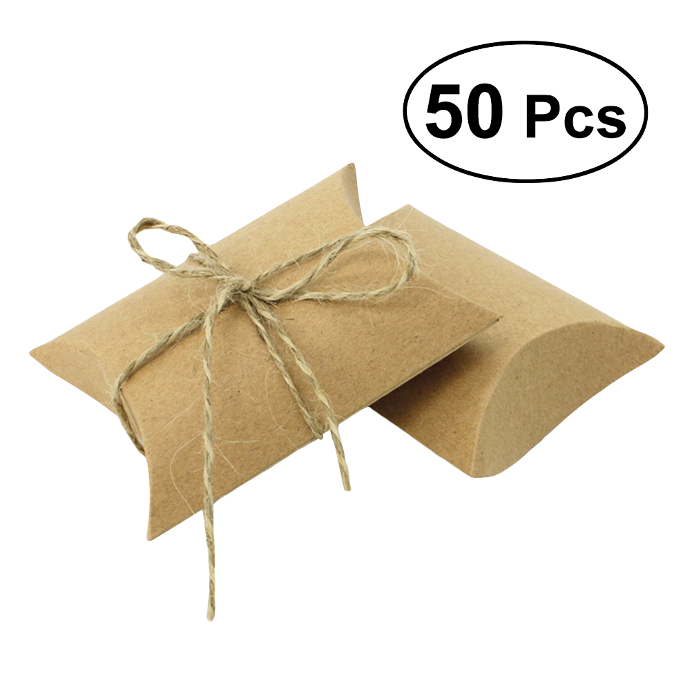 50pcs Gift Wrap Storage Pillow Candy Boxes Craft Paper Candy Gift Boxes Wedding Party Favor For Holiday Decor