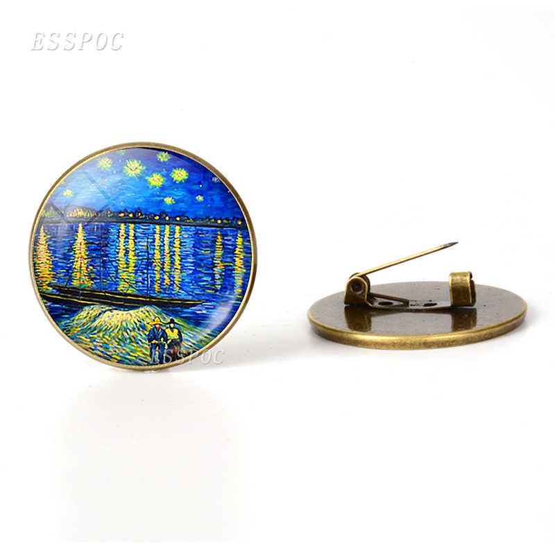 Retro Van Gogh Starry Night ดอกทานตะวันเข็มกลัดผู้ชายผู้หญิงแก้ว Cabochon โดมเครื่องประดับกระเป๋า Bronze เข็มกลัด Pins ของขวัญ