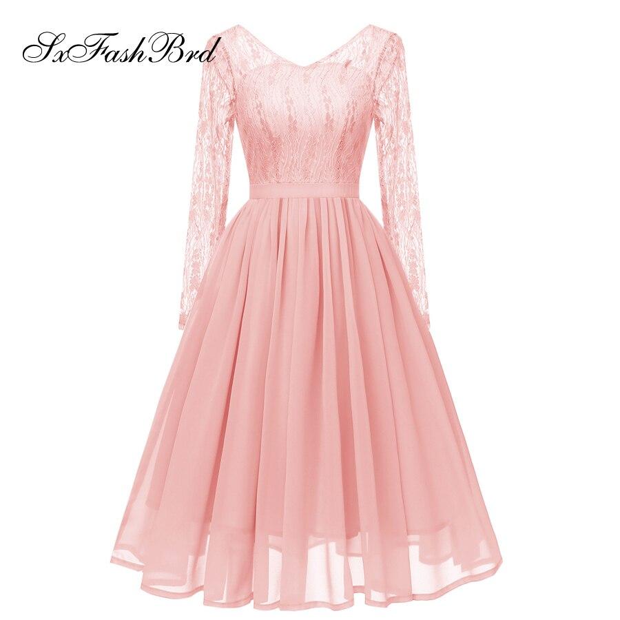 Nouvelle Robe Longue en dentelle col en V à manches longues formelle élégante courte au genou longueur mariée femmes Robe de soirée fête robes de bal Robe