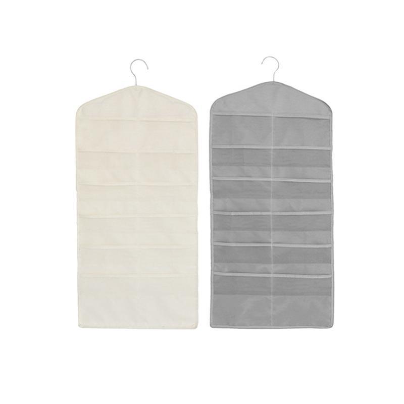 Dubbelzijdig Opknoping Garderobe Grid Pocket Opbergtas Ondergoed Sokken Organizer Muur Gemonteerde Opbergtas Thuis Wanddecoratie