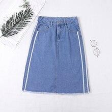 Jupe джинсы, высокая талия, высокая талия, джинсовая юбка для женщин, весна-лето, а-силуэт, джинсовая юбка-карандаш, карман в полоску сбоку, размера плюс
