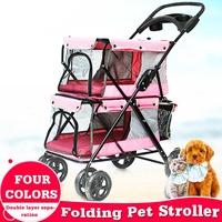 Lightweight Portable 4 Wheel Folding Double layer Pet Stroller for 2 Dogs with Large Space Double Cat Strollers Outdoor Travel