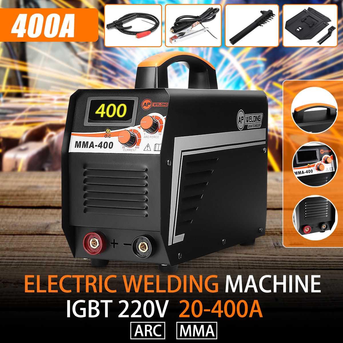 IGBT Inversor Máquina de Solda a Arco Elétrico 20-400A 220 V Display Digital MMA Arc Soldadores Vara Set + Máscara Para Solda trabalhando