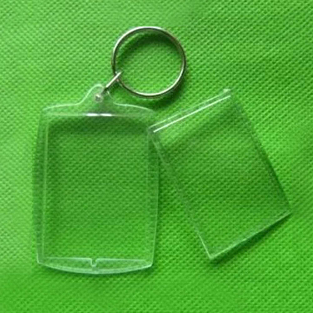Pribadi Transparan Akrilik Insert Foto Gambar Bingkai Iklan Gantungan Kunci Diy Kosong Persegi Lingkaran Apple Bentuk Kunci