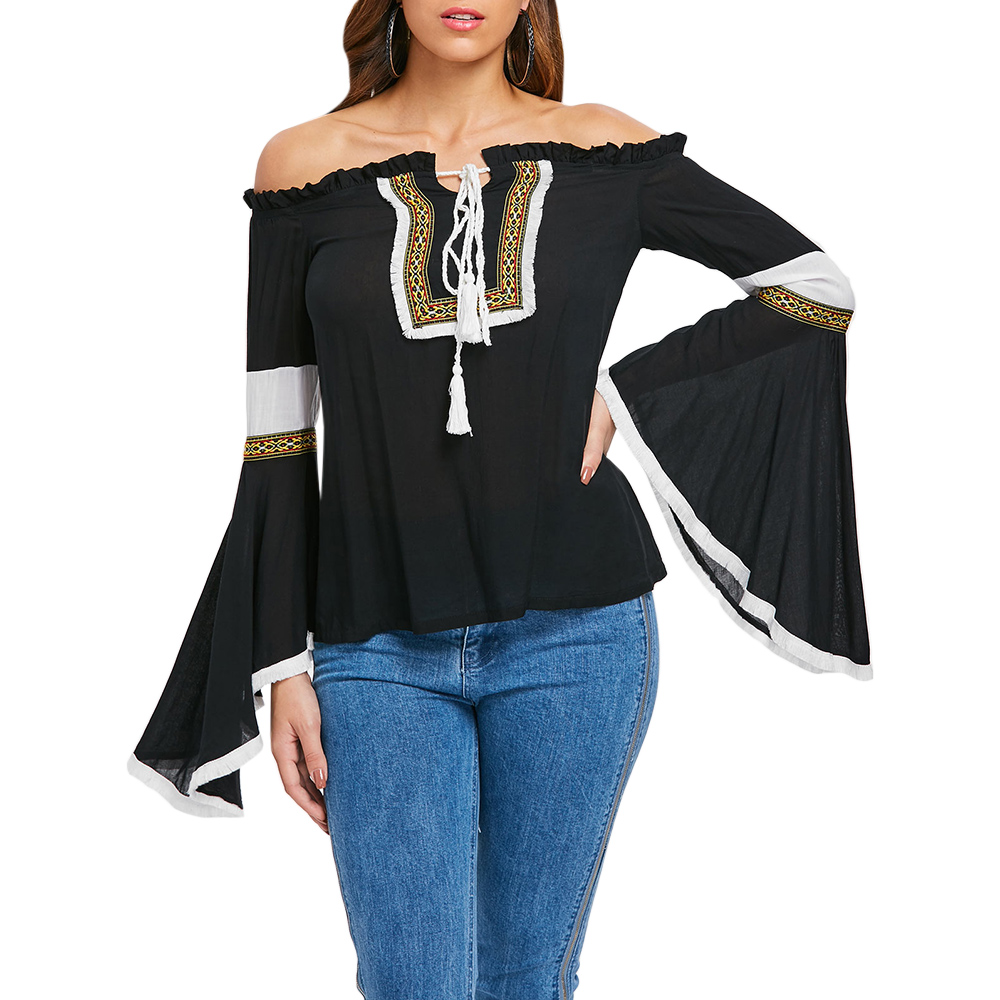Wipalo Off Shoulder Flare Sleeve Embroidered Blouse Women Long Sleeve Slash Neck Casual Shirts 2019 Spring Autumn Boho Tops Sexy