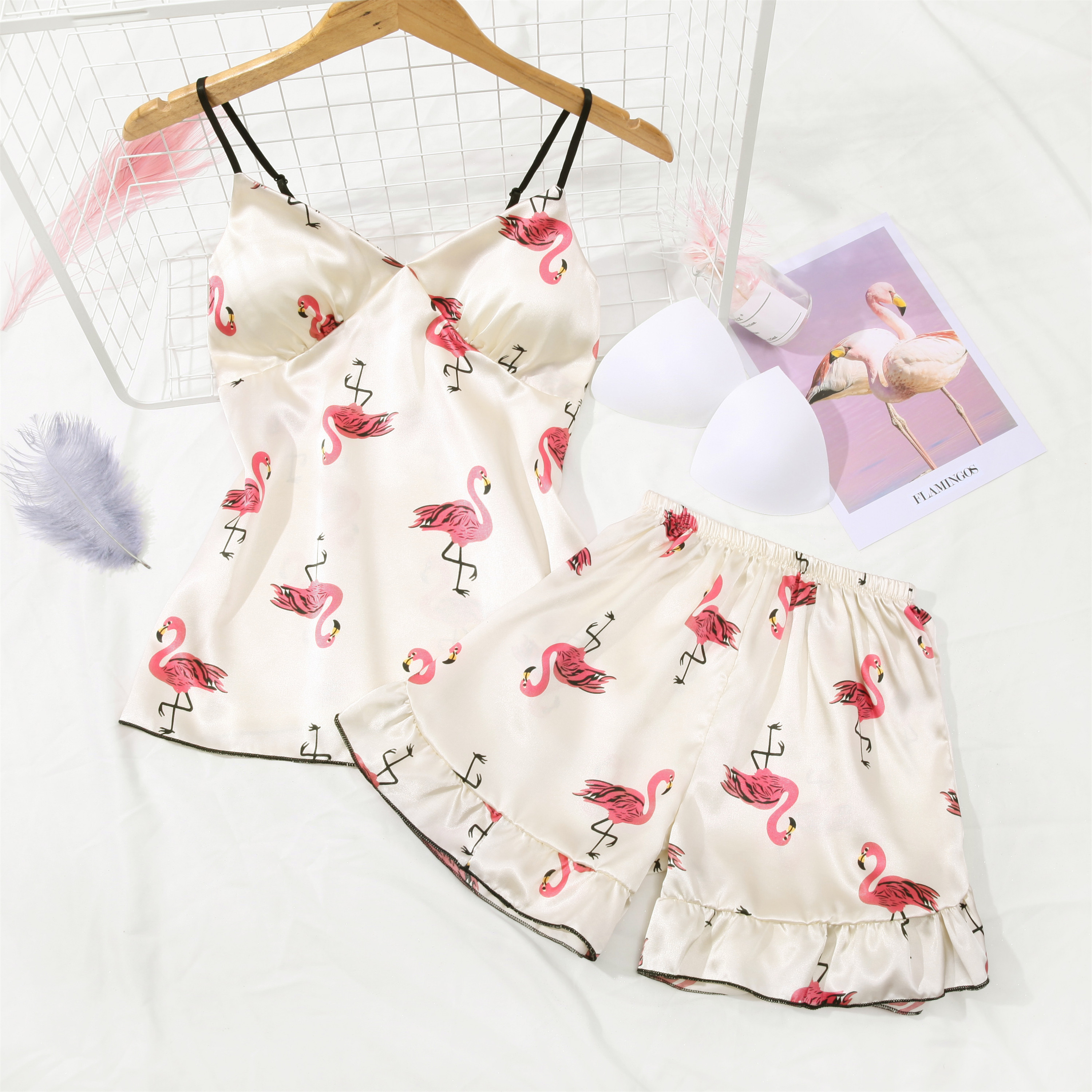 New Women   Pajamas     Set   2pcs Sexy Silk Sleepwear Shortless Sleeve Pyjamas Girl Short Pant Summer Home Wear Ladies   Pajamas     Set