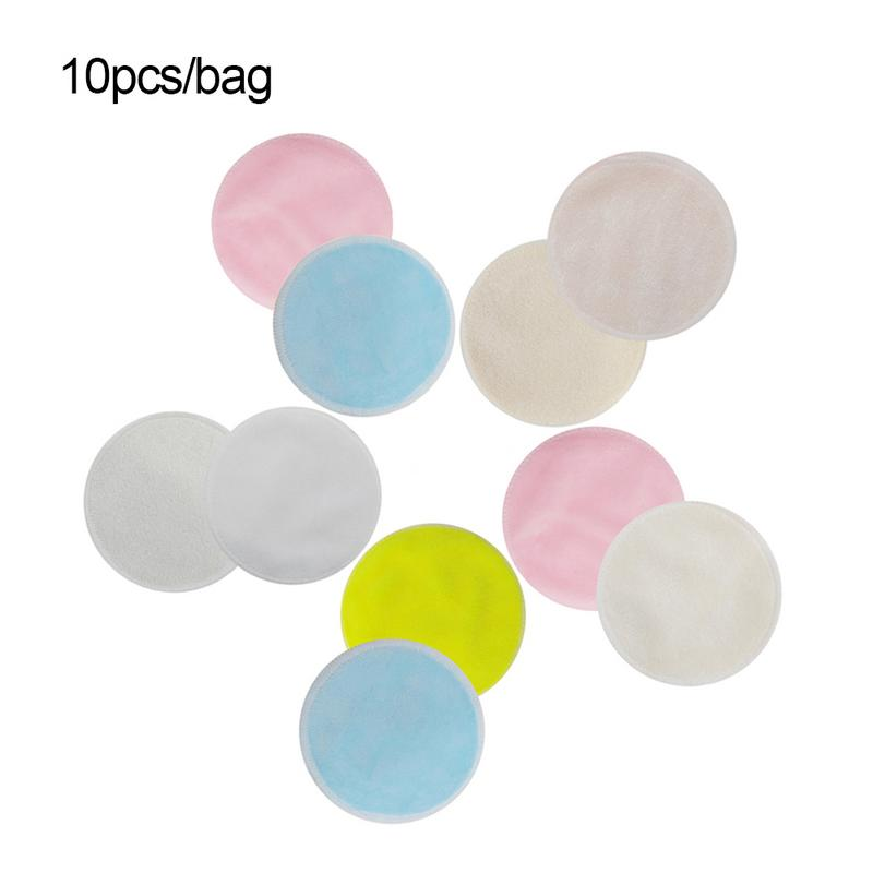 Radom Color 10pcs Bamboo Cotton Reusable Skin Care Face Wipes Washable Deep Cleansing Cosmetics Tool Round Makeup Remover Pad 5