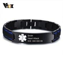 beb439765cb6 Pulseras de identificación de alerta médica de 12mm de grabado libre Vnox  para hombres de acero