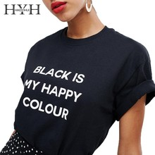 HYH Haoyihui 2019 Summer New Girl Hot Pure Color Black Short Sleeve Simple Curled Cuffs Chest Print T-shirt