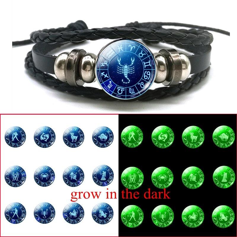 Fashion Christmas Gift 12 Constellations Luminous Bracelet Adjustable Button Black Leather Braided Bracelet Zodiac Sign Jewelry