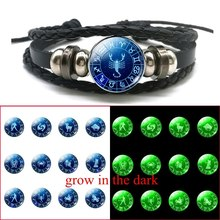 Fashion Christmas Gift 12 Constellations Luminous Bracelet Adjustable Button Black Leather Braided Zodiac Sign Jewelry