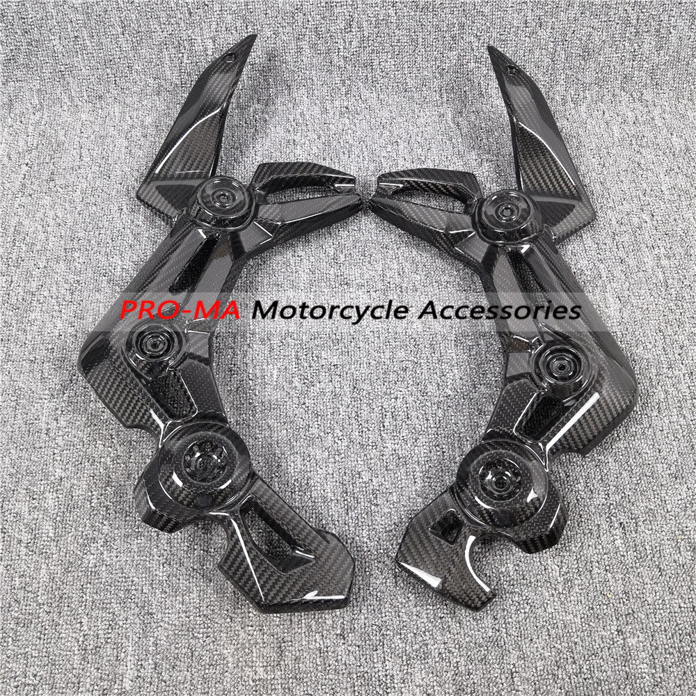 Motorcycle Frame Covers In Carbon Fiber For Kawasaki Z900 Twill Glossy Weave