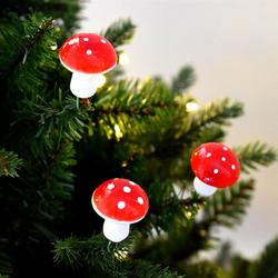 12PCS Cute Small Mushroom Christmas Tree Ornament Xmas Hanging Pendants for Home Party DIY Decoration (Red) 4