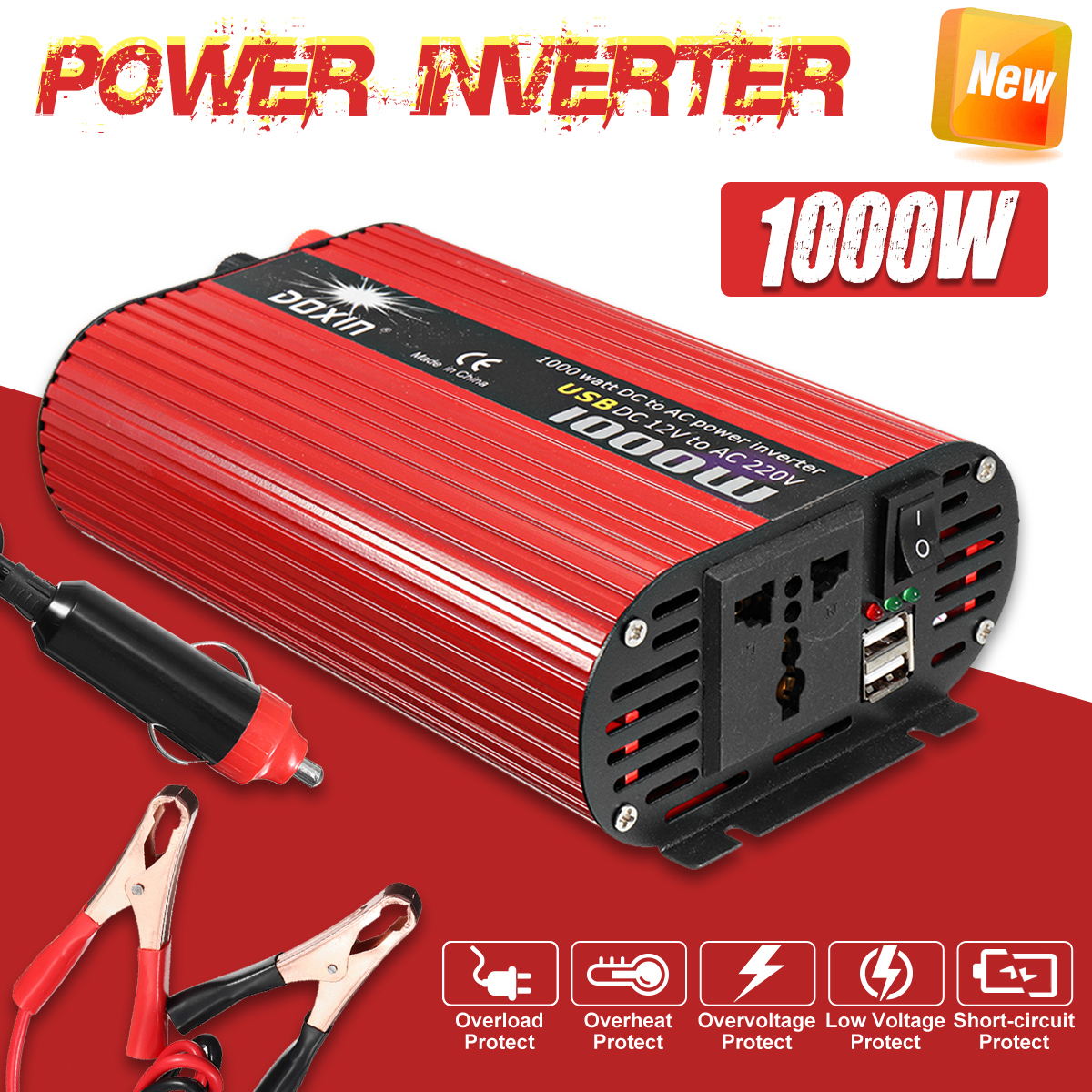 Car Inverter 12V 220V 1000W P eak Voltage Transformer Converter DC 12V To AC 220V Solar Inverter + Car Cigarette Lighter Charger car inverter 12v 220v power inverters voltage transformer converter 12 220 1000w charger on display solar adapter 12v 220v dy104